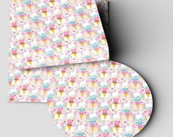 Ice Cream/unicorn Faux Leather Sheet