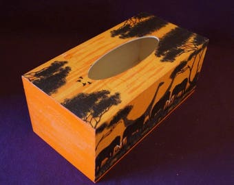 African savanna orange tissue box