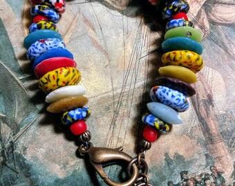 Mixed Krobo Ghana recycled fair trade handmade glass beads