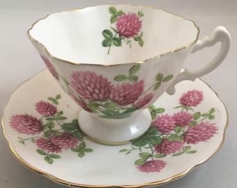 Gorgeous Hammersley Teacup and Saucer, Pink Shamrock teacup, Irish teacup