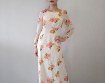 Vintage Floral Cream Dress