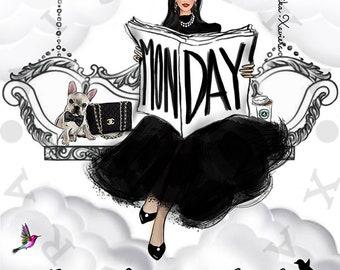 Digital DOWNLOAD FASHION ILLUSTRATION Monday inspired Chanel Couture Fashion Print & High Fashion Art by Aishika Xaviera / Gift / Home Decor