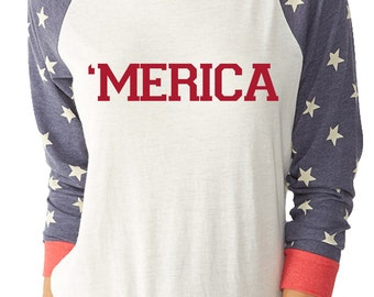 MERICA 4th of July  pullover top 4th of July shirt
