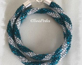 135 - Beaded Crochet Necklace - Kette - Perlenkette - Häkelkette