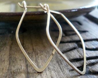 Leaf Hoops - Handmade. Hammered. 14k goldfill hoops