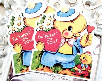 Vintage Valentine Duck (6)-Valentine Tag-Treat Tag-Favor Tag-Gift Tag-Classroom Valentine-Shabby Vintage Tags-Duck Gift Tag-School Valentine