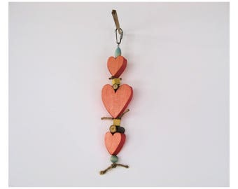 Triple Heart Bird Toy / Bird Toy / Parrot Toy /  Parrot Toy with hearts / parakeet / cockatiel / quaker / Amazon / African Grey