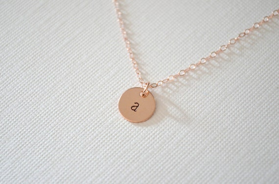 Rose Gold Necklace   Personalized Necklace   Initial Necklace   Pink Necklace   Dainty Minimalist Jewelry