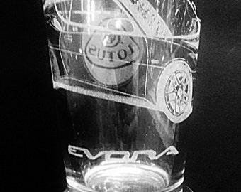 Lotus Evora with Lotus Logo - Laser Etched Pint Glass