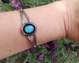 Opal Inlay Shadow Box Sterling Silver Cuff Bracelet