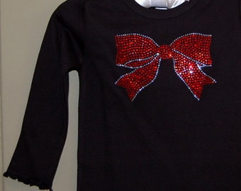 Red Rhinestone Bow Christimas Shirt- Long Sleeve, Short Sleeve, Onesie to Adult sizes available