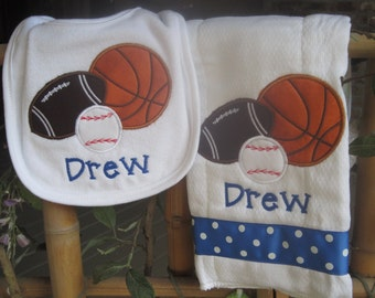 Personalized plush sports pillow baby birth announcement child personalized baby burp cloth bib sports baby boy football baseball basketball new baby shower gift monogrammed negle Choice Image