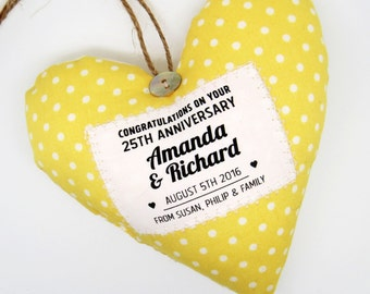 Personalised Wedding Annivesary Gift - Cotton Fabric Heart - Choice of Fabric - Scented