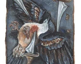 Bleeding Heart Dove Art, Three of Swords Tarot Card, Large Wall Art, Dead Bird Picture, Life & Death, Animism Tarot Deck, Any Size Print