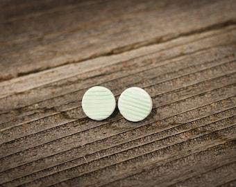 Green Ceramic Earrings //Mint Green Textured Stud Earrings // Ceramic Stud Earrings // Handmade Earrings
