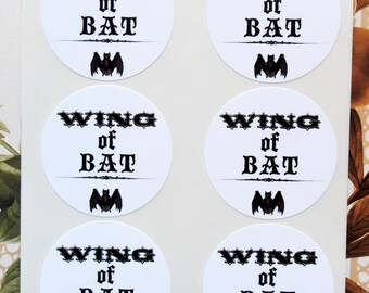 Halloween Stickers Wing of Bat Apothecary Party Favor Envelope Seals Treat Bag Stickers SH012