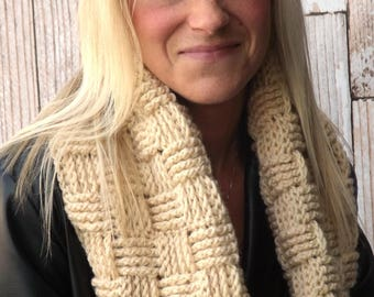 Chunky Infinity Cowl - Basket Weave Cowl - Hooded Cowl - Winter Cowl - Chunky Winter Cowl - Textured Scarf - Infinity Scarf