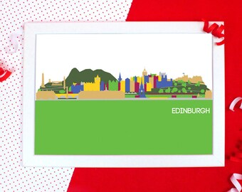 Cityscapes Print - Edinburgh Print - Edinburgh Skyline Wall Art - Graphic Print of Edinburgh - Holiday Souvenir