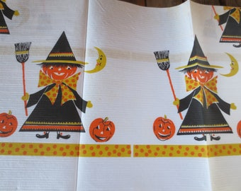 Vintage 70s Paper Tablecloth / Halloween Crepe Tablecloth / retro halloween tablecloth / Midcentury witch and pumpkin / 54 x 96""