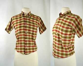 1960s Teen Boys Red, Green, Tan Plaid Short Sleeve Button Up Shirt by Durable Press