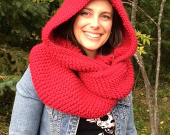 PATTERN** Easy Knit Hooded Cowl Pattern, Hooded Cowl, Pattern, Easy Pattern, Easy Knit, Cowl, Hood, Easy