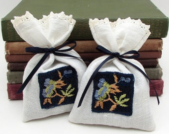 2 Dried Lavender Sachets - Tied with Ribbon - Navy Blue - Vintage Flower Applique - Upcycled Fabric - lavender pouch - drawer sachet