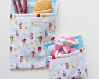 Snack bag, sandwich bag, lunch bag, food storage bag, reusable snack bag, eco friendly snack bag, waterproof fabric bag, picnic bag