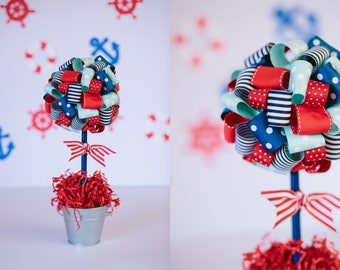 PATRIOTIC CENTERPIECE / Baby shower centerpiece / Patriotic decoration / Nautical baby shower / Graduation centerpiece / Baby shower decor