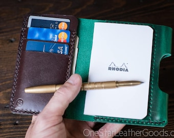 "Notebook/wallet/pen, ""Park Sloper Medium"" - Horween Chromexcel green / brown"