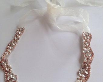 Skinny Bridal Wedding Sash Rose Gold Rhinestones Crystal and Beads