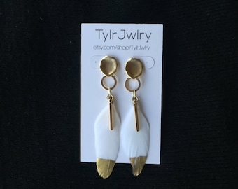 Gold Hoop Feather Earrings