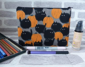 Black cat pencil case, cat in a pumpkin patch, black cat makeup bag, black cat, gift for her, gift for cat lover, christmas gift, halloween
