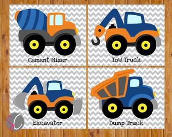 Boys Construction Trucks Vehicles Wall Art Room Decor Trucks Orange Navy Blue Playroom 4 Printable 8x10 Digital JPGs   (cs3)