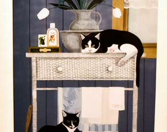 "Signed Jan Panico Print Tuxedo Cats ""Oscar & Harold With Tulips"", Glass Framed"
