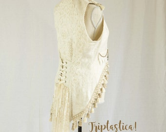 Elegant Ivory Tailvest, Steampunk Vest, Casual Wedding Vest, Upcycled Vest, Altered Couture, One of a Kind Vest by Triptastica