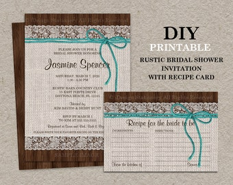 Rustic Turquoise Bridal Shower Invitation With Recipe Card, DIY Printable Burlap And Lace Wedding Shower Invitations And Recipe Cards