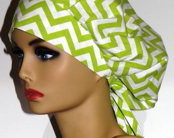 Women's Surgical Bouffant Scrub Cap with Ties - Green Chevron