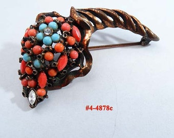 FREE SHIP Coral And Turquoise Cornucopia Brooch (4-4878)
