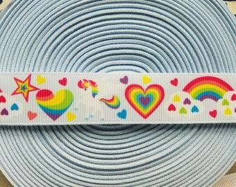 "7/8"" Rainbow/Unicorns/Hearts grosgrain ribbon, ribbon by the yard, hair bow supplies"