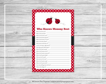 Ladybug Baby Shower Who Knows Mommy Best Game - Printable Baby Shower Who Knows Mommy Best Game - Ladybug Baby Shower - Shower Game - SP140