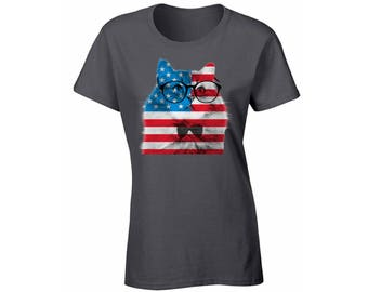 USA Flag Cat T shirt Top Shirt American Flag Hipster Cat 4th of July Independence Day