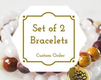 Set of 2 Stackable Bracelets, Pink Jade, Mookaite Gold Lotus Charm Bracelet Mala Beads, Yoga Bracelet, Yoga Jewelry