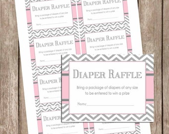 Pink and gray baby shower diaper raffle ticket, chevron diaper raffle, pink and grey, pink and gray baby shower, girl pe1 INSTANT DOWNLOAD