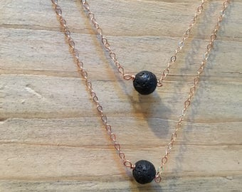 Rose Gold lava stone essential oils necklace, rose gold difuser necklace