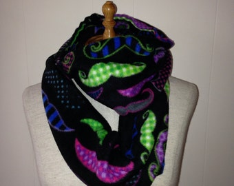 Mustache Fleece Infinity Scarf and Hat Set