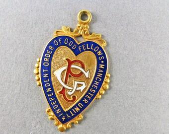 Vintage 9k Gold Pendant Blue Enamel Jewelry Solid Gold Jewelry English Hallmark Gold Jewelry 1930s Jewelry Gold Medal Pendant