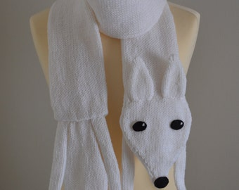 Knit Fox Scarf Animal Scarf White