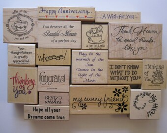 rubber stamp - YOUR CHOICE - SENITMENTS for card stamping, phrases, celebrations - used rubber stamps