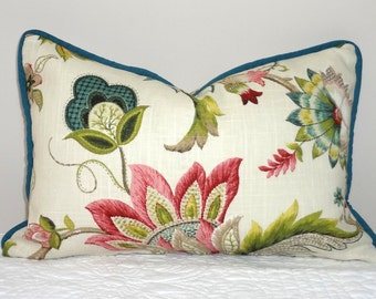 NEW P. Kaufmann Brissac Floral Print Lumbar Pillow Cover Teal Green Rose Decorative Flower Throw Pillow Covers 12x18