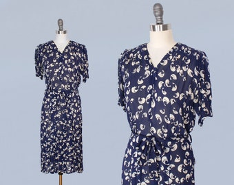 1930s Dress / Late 30s Early 1940s Day Dress / Sheer Navy Day Dress